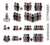team work  crowd icon set | Shutterstock .eps vector #577946884