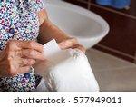 senior woman between 70 and 80... | Shutterstock . vector #577949011