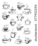 coffee cup and tea mug icon set.... | Shutterstock .eps vector #577952554