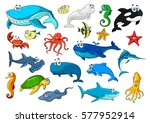 cartoon sea animals icons. fish ... | Shutterstock .eps vector #577952914