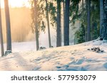 Mountain Skis At Sunset In...