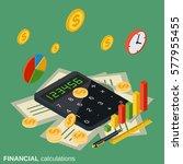 financial calculations flat... | Shutterstock .eps vector #577955455