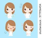 cute cartoon woman with face... | Shutterstock .eps vector #577956454
