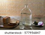 vodka  cucumber  bread and... | Shutterstock . vector #577956847