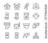 home security line icon set....