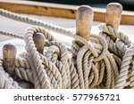old sailboat  detail closeup of ... | Shutterstock . vector #577965721