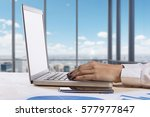 person typing on a modern... | Shutterstock . vector #577977847