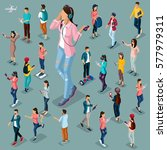 trendy isometric people and... | Shutterstock .eps vector #577979311