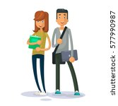 couple young students vector... | Shutterstock .eps vector #577990987