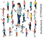 trendy isometric people and... | Shutterstock .eps vector #577993945