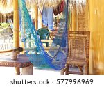 hammock in a bamboo bungalow | Shutterstock . vector #577996969