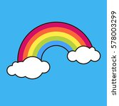 rainbow  sky  clouds. sticker ... | Shutterstock .eps vector #578003299