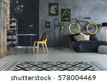 hipster bedroom with bed  desk  ... | Shutterstock . vector #578004469
