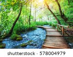 wooden laying on blue water.... | Shutterstock . vector #578004979