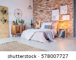 bright bedroom with double bed  ... | Shutterstock . vector #578007727