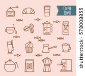 coffee icons set. vector... | Shutterstock .eps vector #578008855