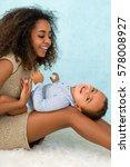 happy african ethiopian mother... | Shutterstock . vector #578008927