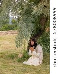 Small photo of Jesus in agony praying in the garden of olives before his crucifixion