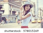 fashionably dressed woman on... | Shutterstock . vector #578015269
