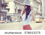 fashionably dressed woman on... | Shutterstock . vector #578015275