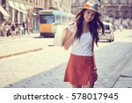 fashionably dressed woman on... | Shutterstock . vector #578017945