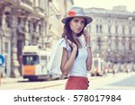 fashionably dressed woman on...   Shutterstock . vector #578017984