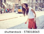 fashionably dressed woman on... | Shutterstock . vector #578018065