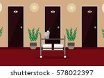 Stock vector illustration hall or corridor of the hotel or hostel with doors room service trolley plants and 578022397