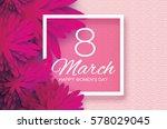 magenta pink paper cut flower.... | Shutterstock .eps vector #578029045