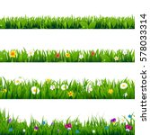 big set flowers frame  | Shutterstock . vector #578033314