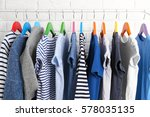 hangers with different clothes  ... | Shutterstock . vector #578035135