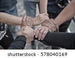 group of young people united... | Shutterstock . vector #578040169