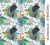 abstract tropical summer...   Shutterstock . vector #578052541
