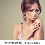 beautiful model girl with pink... | Shutterstock . vector #578065399