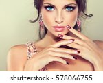 beautiful model girl with pink... | Shutterstock . vector #578066755