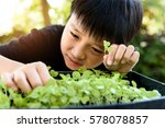 selective focus at young asian... | Shutterstock . vector #578078857
