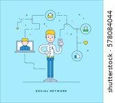 social network concept flat... | Shutterstock .eps vector #578084044