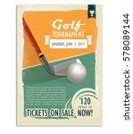 golf game. retro golf poster or ... | Shutterstock .eps vector #578089144