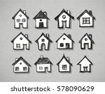 paper cut sketches of houses... | Shutterstock .eps vector #578090629