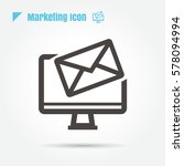 icon email desktop thin line...
