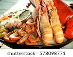 seafood platter with tasty... | Shutterstock . vector #578098771