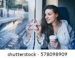 young beautiful woman looking... | Shutterstock . vector #578098909