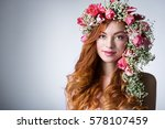 young woman with red hair... | Shutterstock . vector #578107459