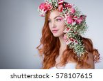young woman with red hair... | Shutterstock . vector #578107615