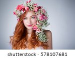young woman with red hair... | Shutterstock . vector #578107681
