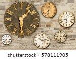 set of vintage clocks hanging... | Shutterstock . vector #578111905