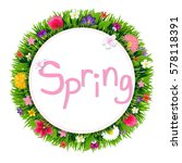 banner with spring flowers with ... | Shutterstock .eps vector #578118391