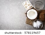 coconut with coconut oil in jar ... | Shutterstock . vector #578119657