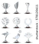 silver trophy cups and awards ... | Shutterstock .eps vector #578120611