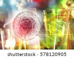 Small photo of Cancer immunotherapy research concept cancer gene therapy with stem cells and DNA string background